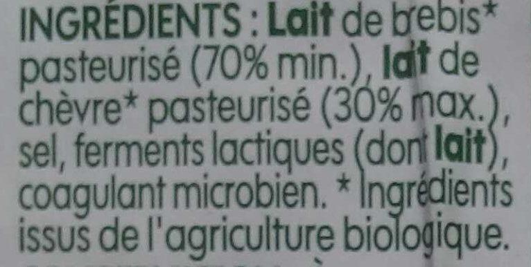 Feta bio A.O.P. - Ingrediënten - fr