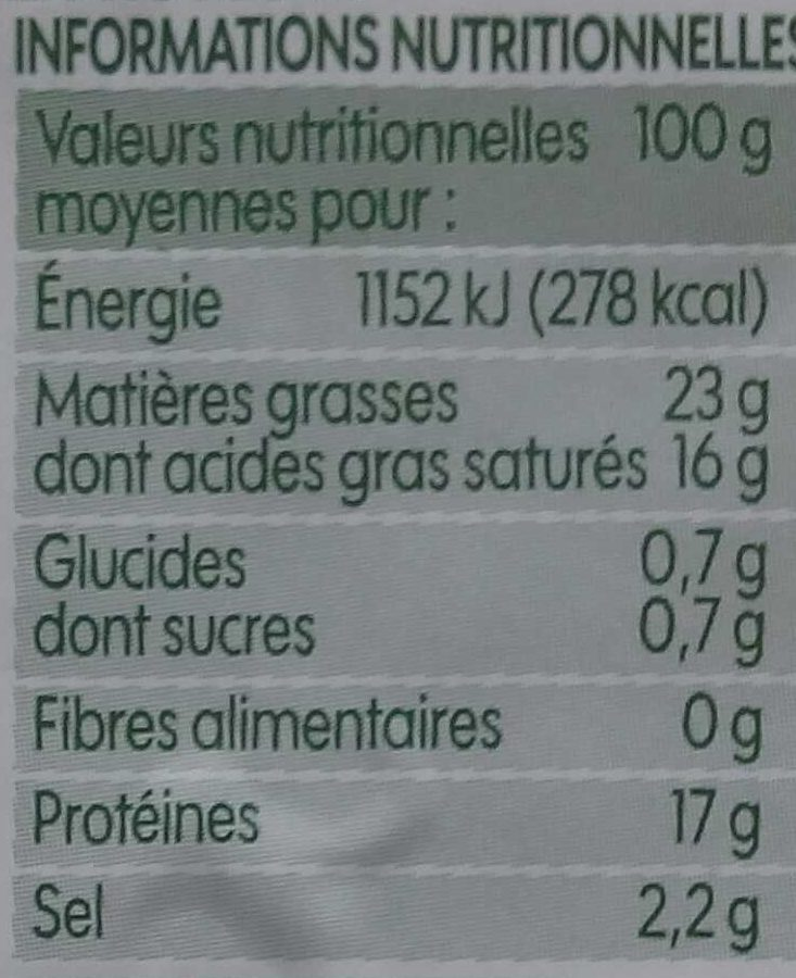 Feta bio A.O.P. - Voedingswaarden - fr