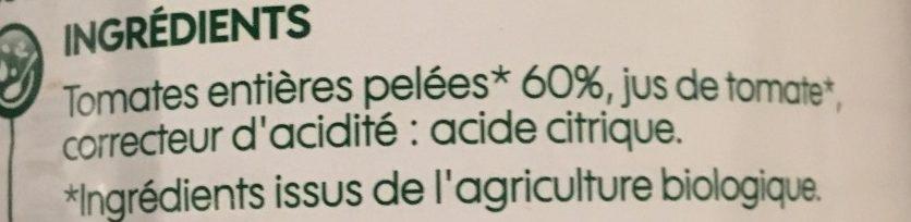 Tomates entières pelées bio - Ingrédients