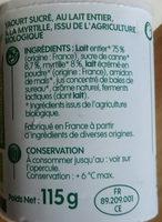 Yaourt brassé à la Myrtille - Ingrédients - fr