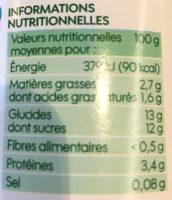 Yaourt brassé à la Myrtille - Informations nutritionnelles - fr