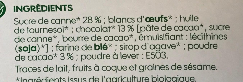 Mini moelleux chocolat bio x 6 - Ingredients - fr