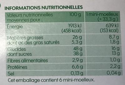 Mini moelleux chocolat bio x 6 - Nutrition facts - fr