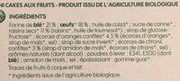 Mini cakes aux fruits bio x 5 - Ingrediënten - fr
