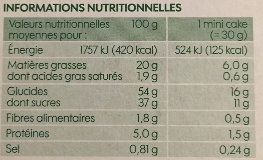 Mini cakes aux fruits bio x 5 - Voedingswaarden - fr