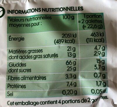 Galettes de riz nappées chocolat au lait - Informations nutritionnelles - fr