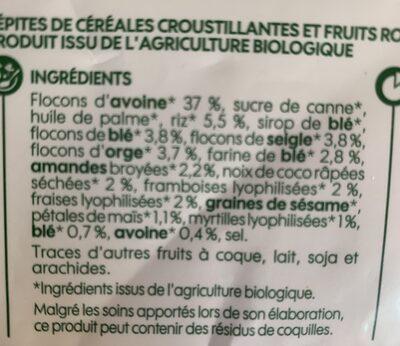Muesli croustillant fruits rouge bio - Ingrédients - fr