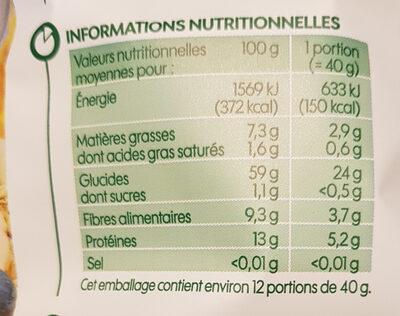 Flocons d'avoine cérélae complète bio - Nutrition facts - fr