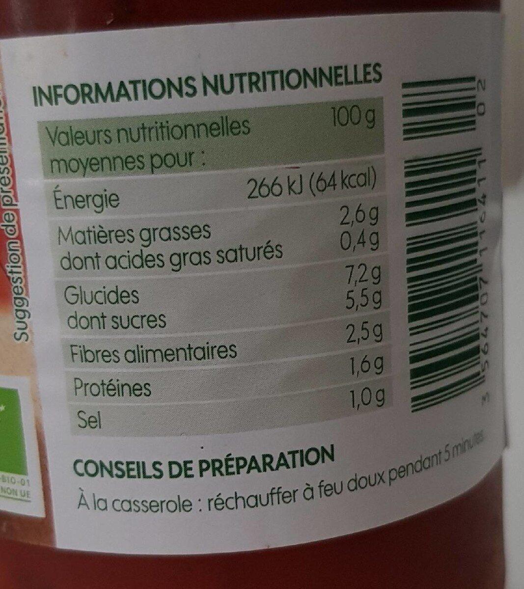 Sauce provençale bio - Informations nutritionnelles - fr