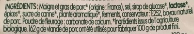 Saucisse sèche bio courbe - Ingredients - fr