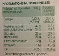 Chocolat noir bio aux éclats d'amandes du Pérou Max Havelaar - Informations nutritionnelles