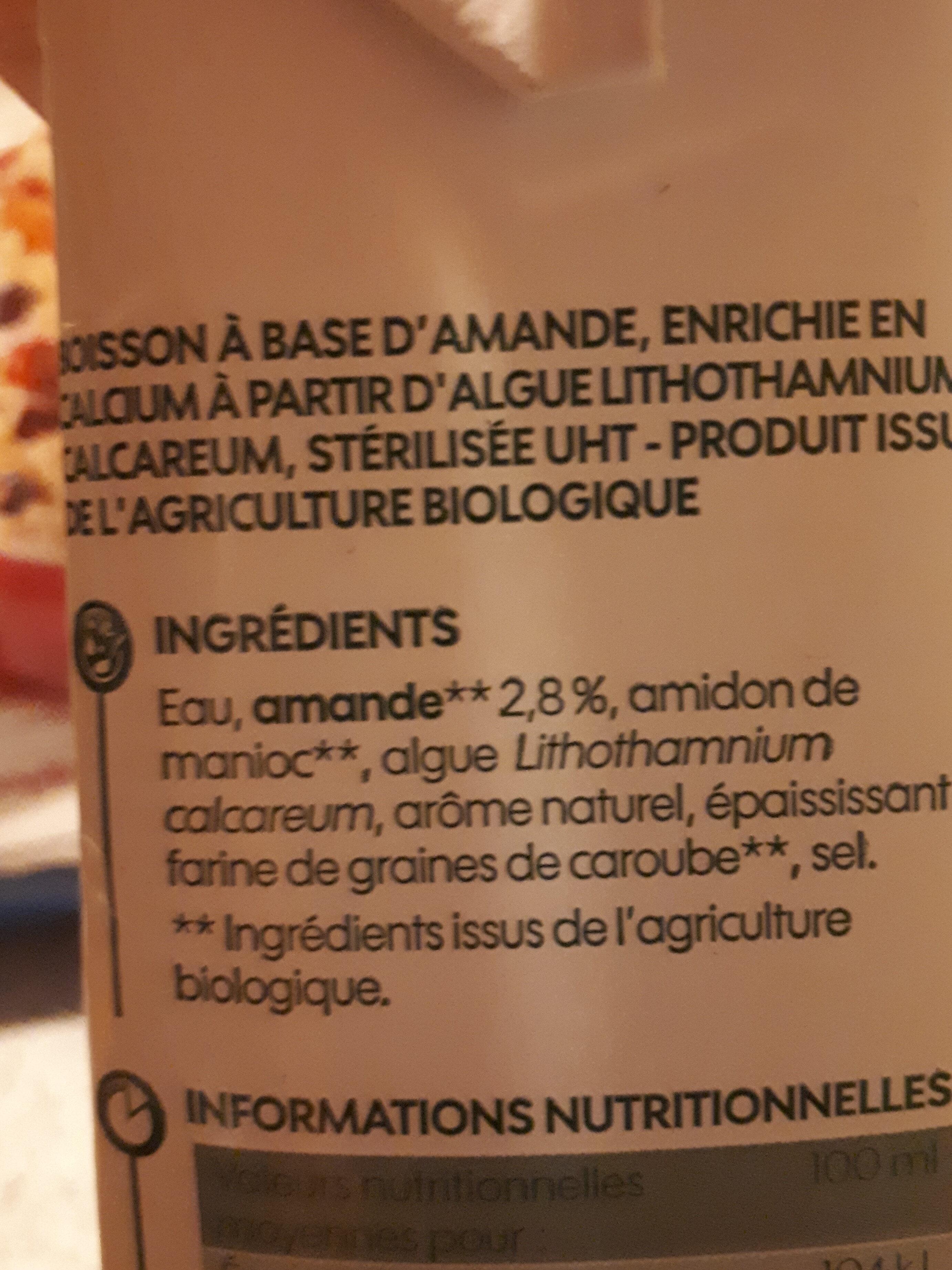 Lait d'amande bio sans sucres ajoutés - Ingredienti - fr