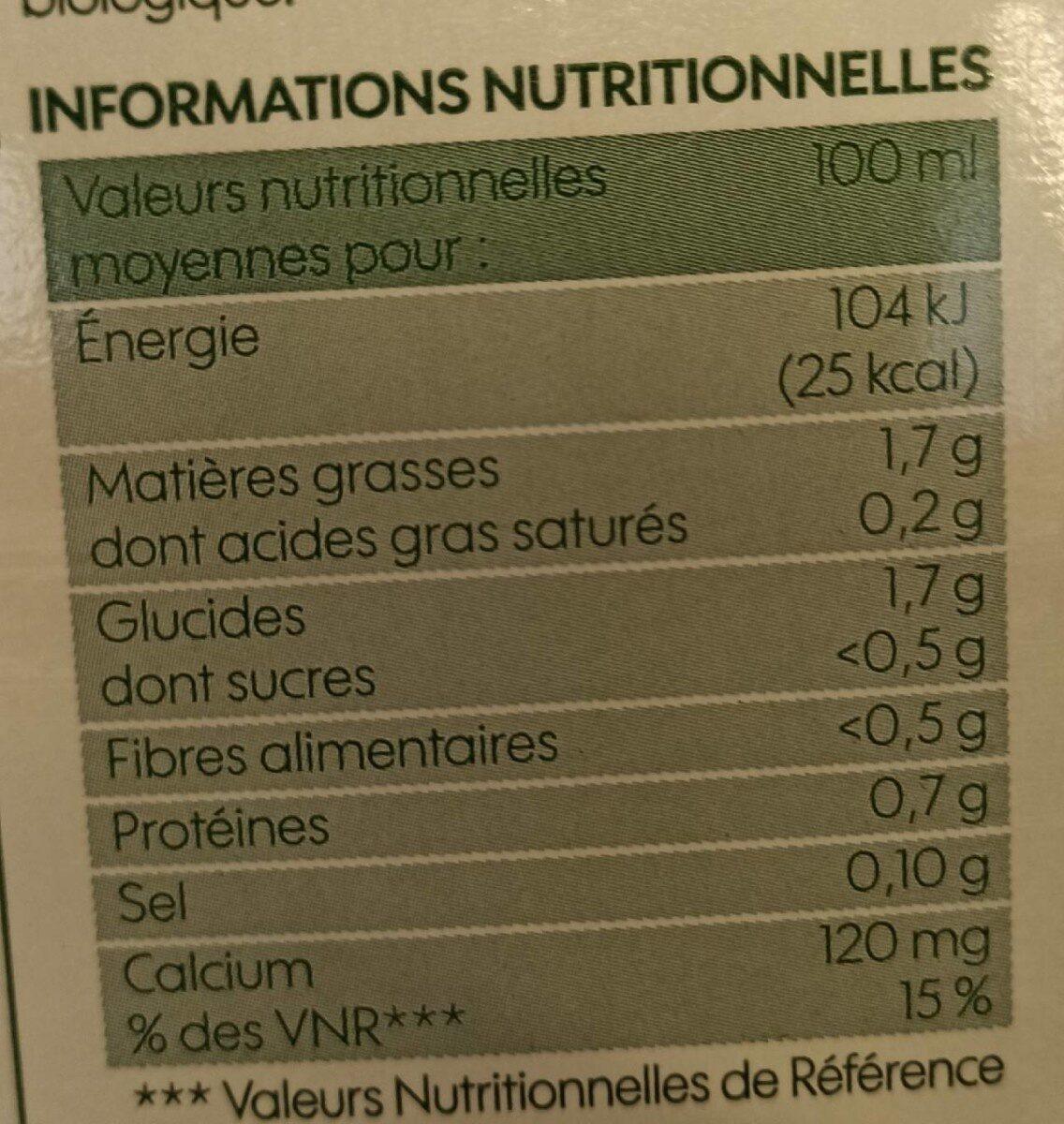 Lait d'amande bio sans sucres ajoutés - Informazioni nutrizionali - fr