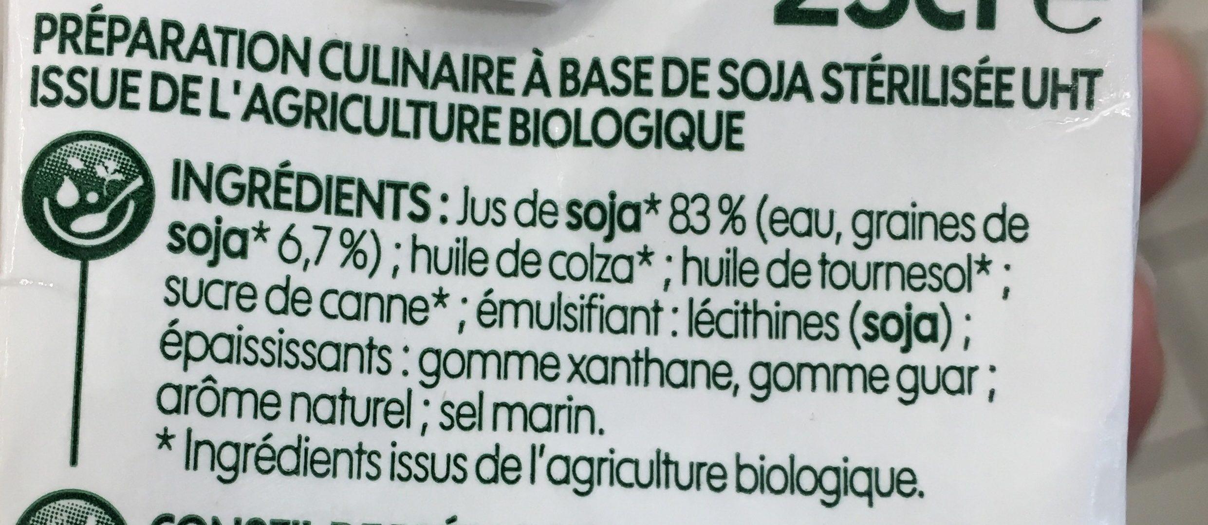 Crème végétale fluide au soja bio - Ingredients - fr