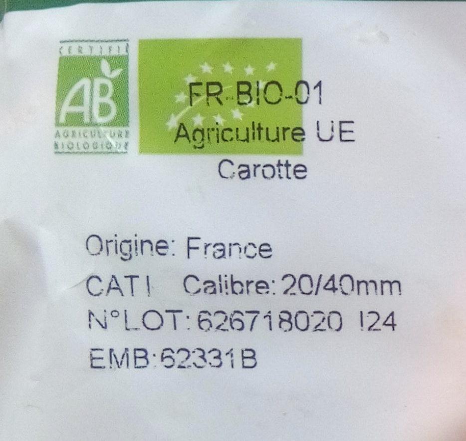 Carottes 1kg - Ingrediënten - fr