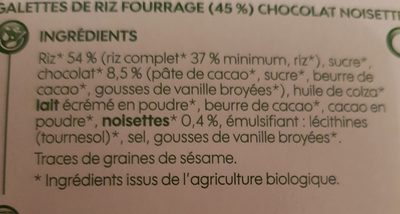 Galettes de riz fourrées chocolat noisette bio x 6 - Ingrediënten - fr