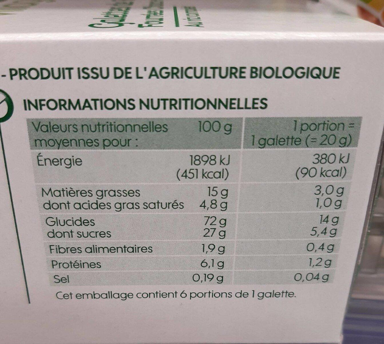 Galettes de riz fourrées chocolat noisette bio x 6 - Voedingswaarden - fr