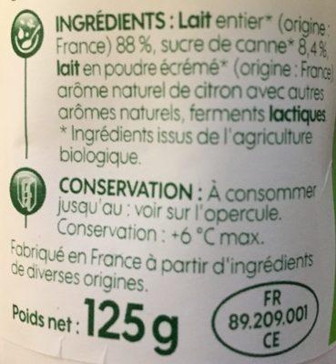 Yaourt au lait entier bio au citron - Ingrédients - fr