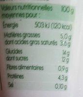 Yaourt au lait de brebis sur lit de myrtilles bio - Nutrition facts - fr