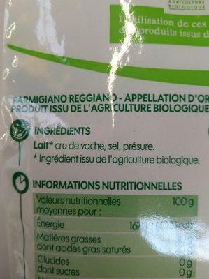Parmigiano reggiano bio râpé A.O.P. 30% Mat. Gr. - Ingrediënten
