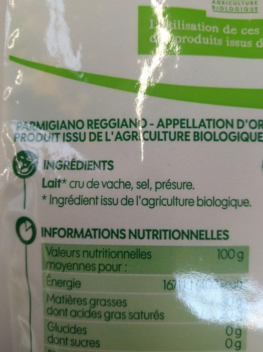 Parmigiano reggiano bio râpé A.O.P. 30% Mat. Gr. - Ingrédients
