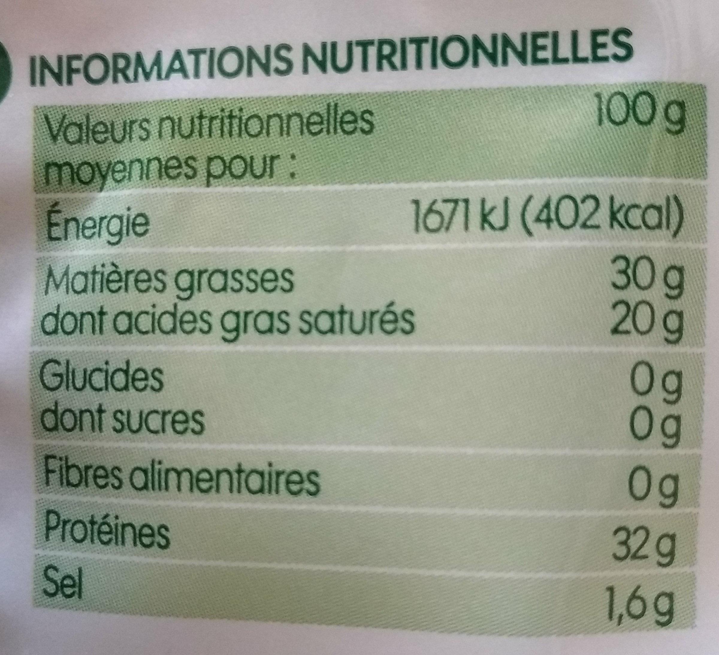 Parmigiano reggiano bio râpé A.O.P. 30% Mat. Gr. - Informations nutritionnelles