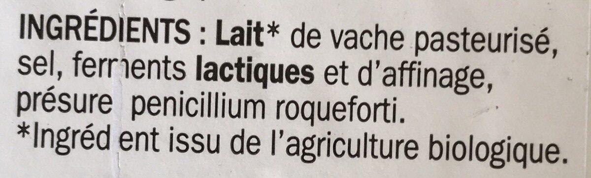 Bleu d'Auvergne bio 29% Mat. Gr. A.O.P. - Ingrédients - fr