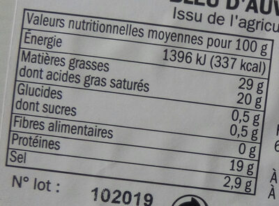 Bleu d'Auvergne bio 29% Mat. Gr. A.O.P. - Informations nutritionnelles