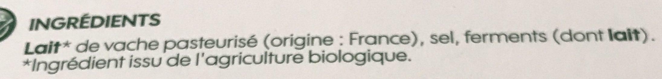 Brique au lait entier de vache bio 25% Mat. Gr. - Ingredients - fr