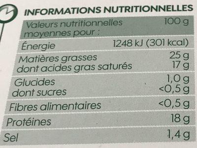 Brique au lait entier de vache bio 25% Mat. Gr. - Nutrition facts - fr