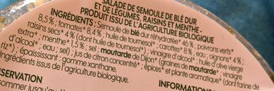 Taboulé aux légumes bio - Ingrédients - fr
