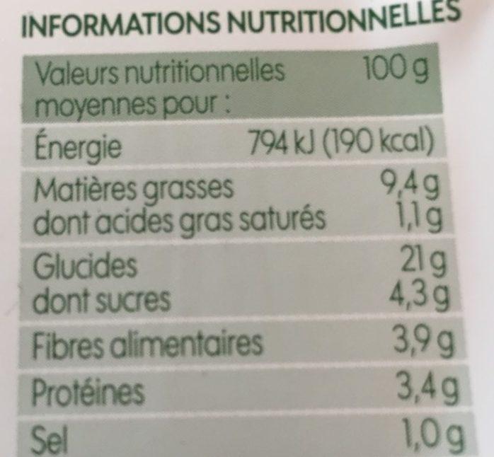 Taboulé aux légumes bio - Informations nutritionnelles - fr