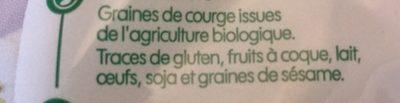 Graines de courge bio - Ingredients - fr