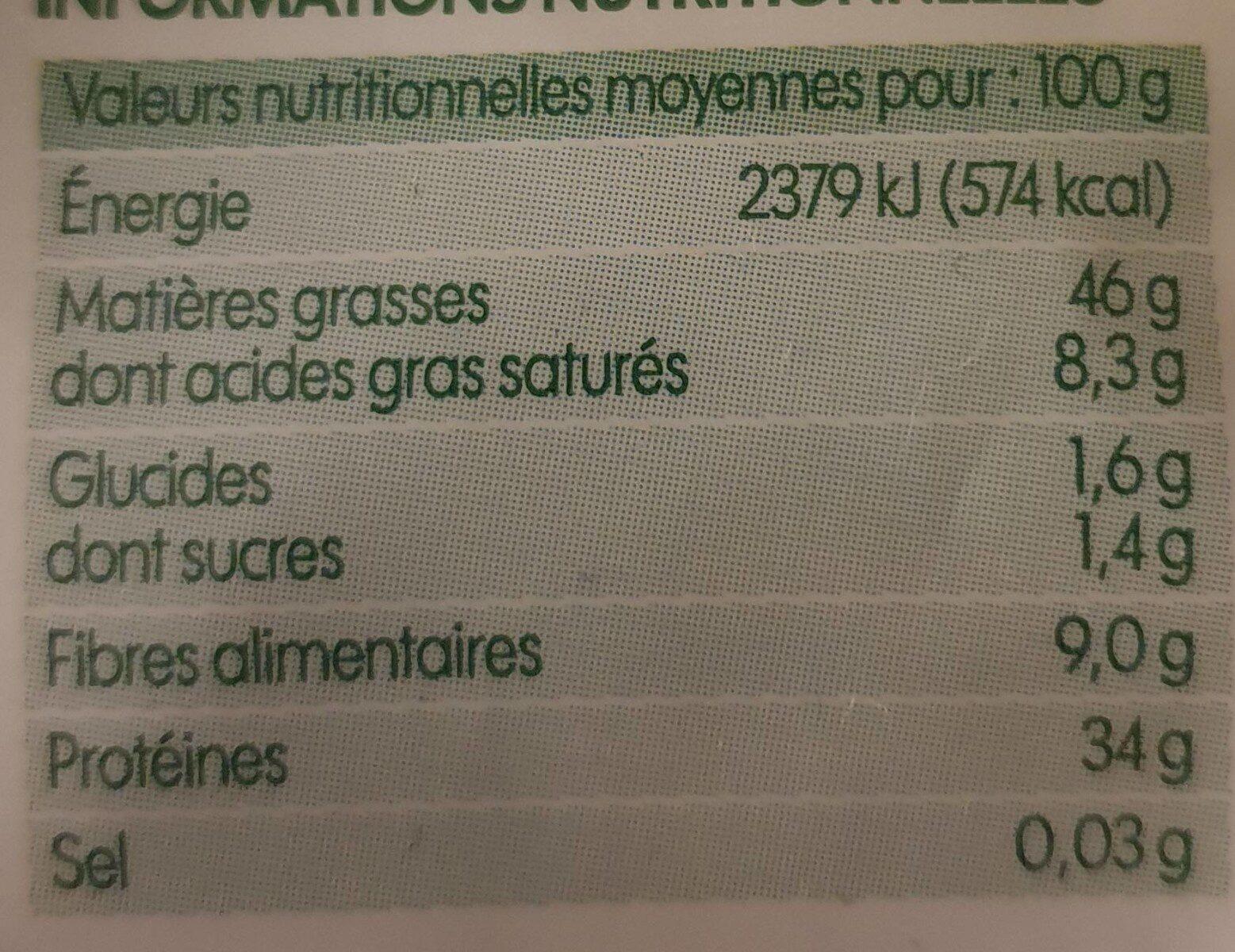 Graines de courge bio - Nutrition facts - fr
