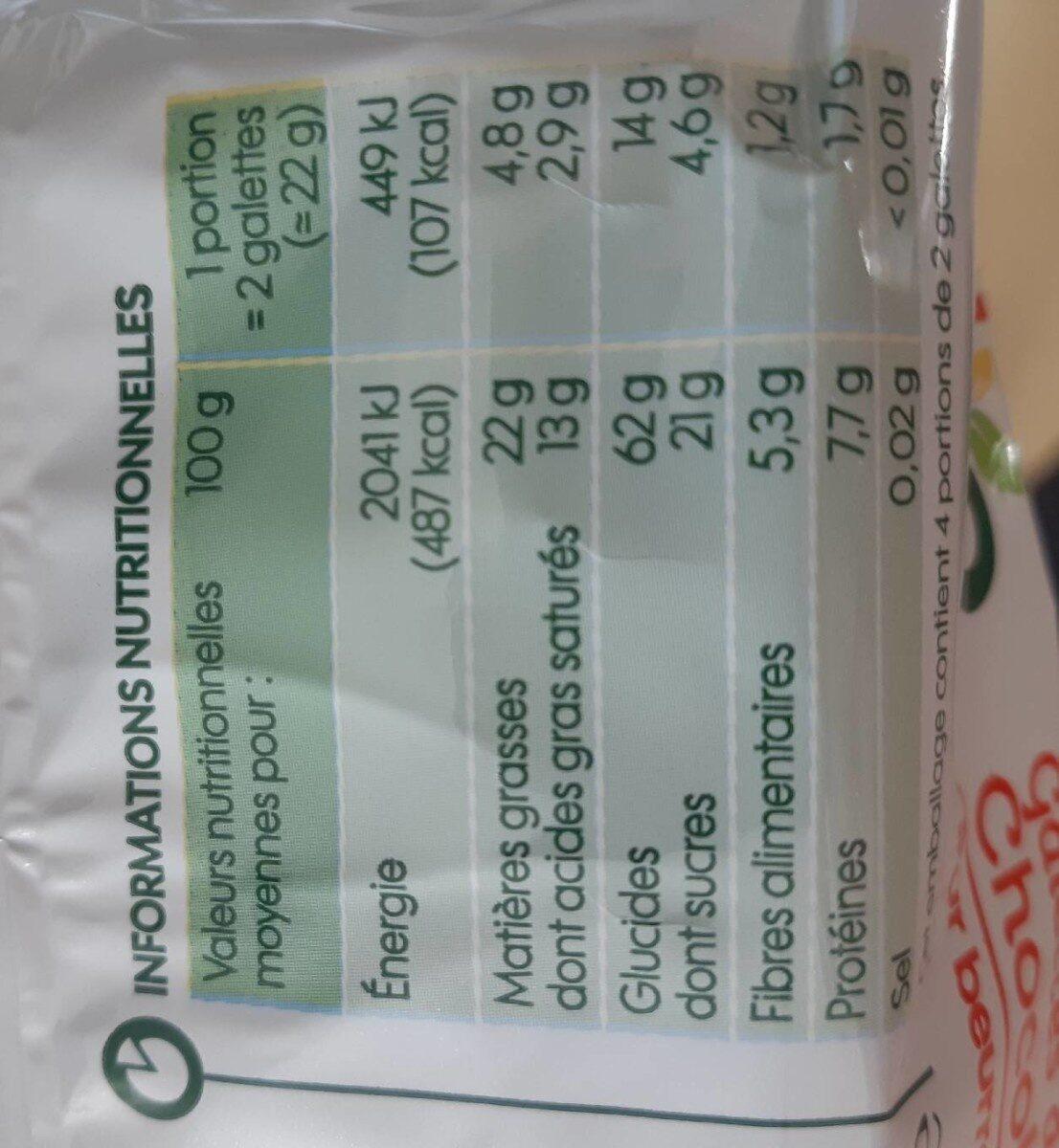 Galettes de maïs nappées chocolat noir bio - Voedingswaarden - fr