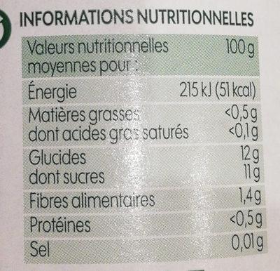 Purée de fruits pomme sans sucres ajoutés bio - Informations nutritionnelles - fr