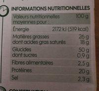 Biscuits salés gouda bio - Informations nutritionnelles - fr
