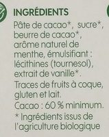 Chocolat noir 60 % cacao et menthe bio - Ingrédients - fr