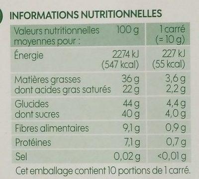 Chocolat noir 60 % cacao et menthe bio - Informations nutritionnelles - fr