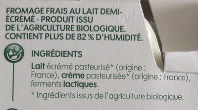 Fromage frais nature bio - Ingredients - fr