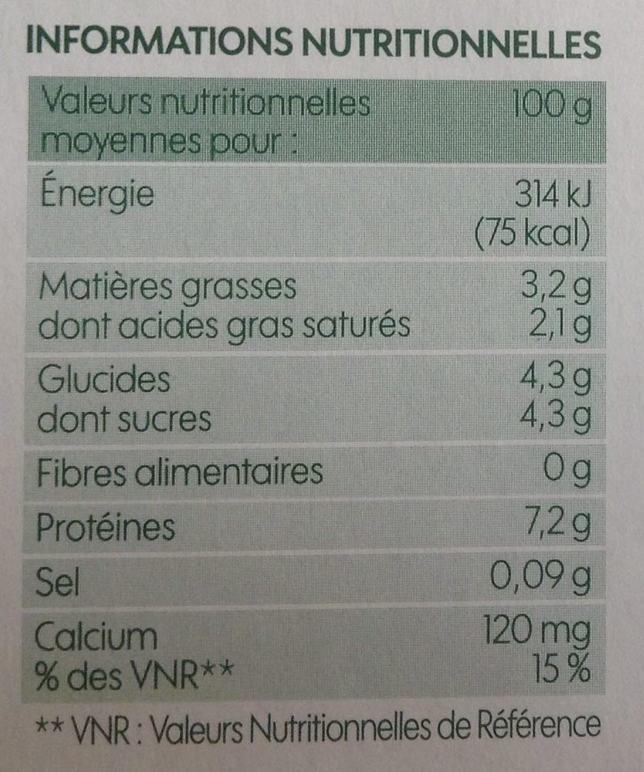 Fromage frais nature bio - Nutrition facts - fr