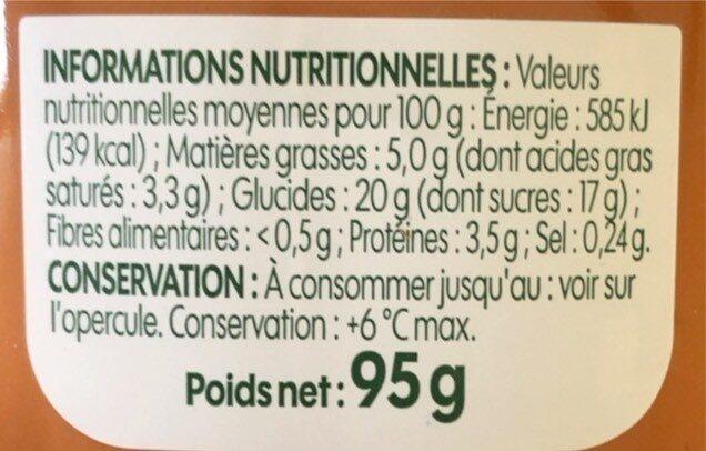 Crème dessert caramel bio - Informations nutritionnelles - fr