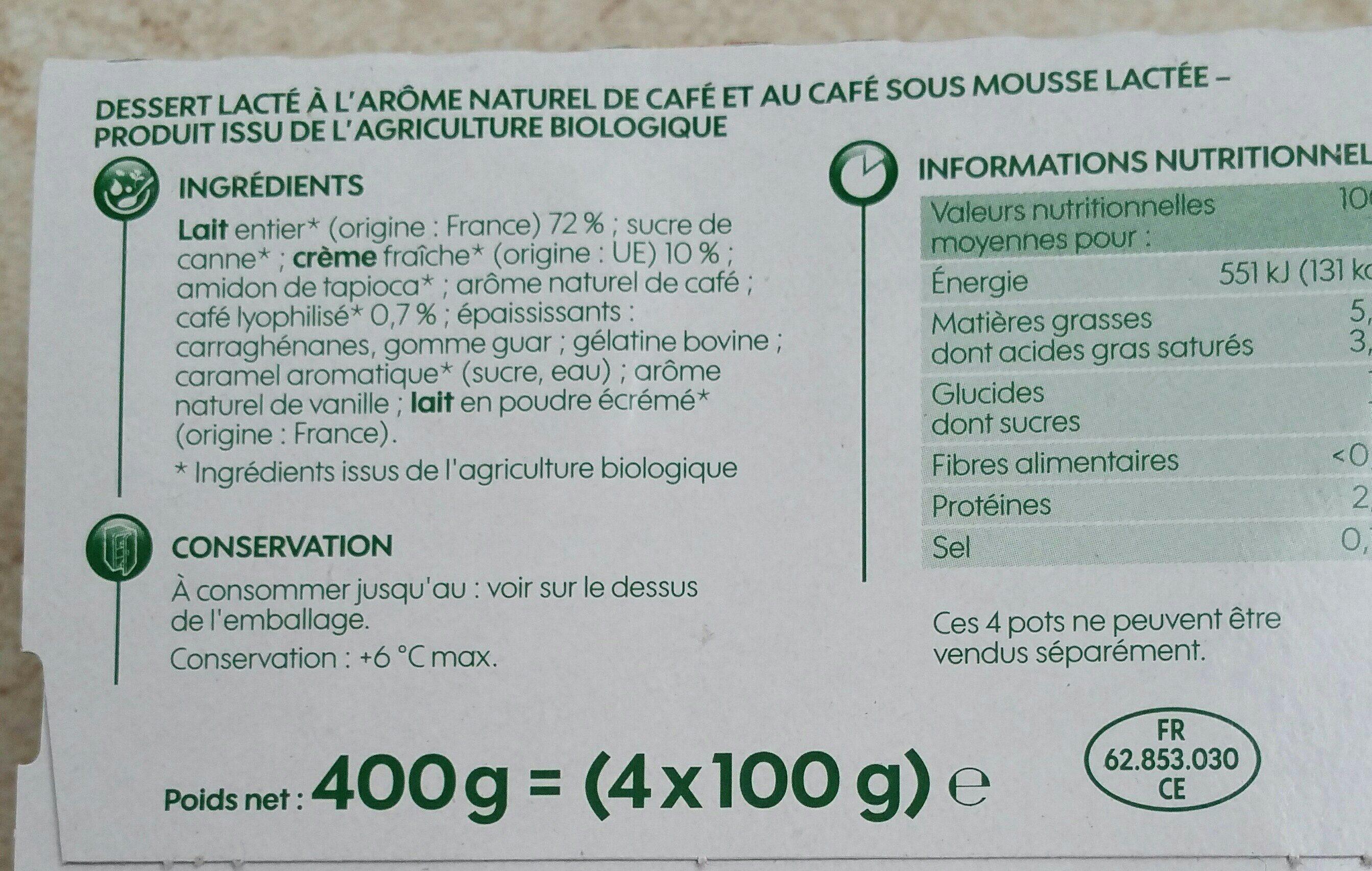 Liégeois café bio - Ingrediënten - fr
