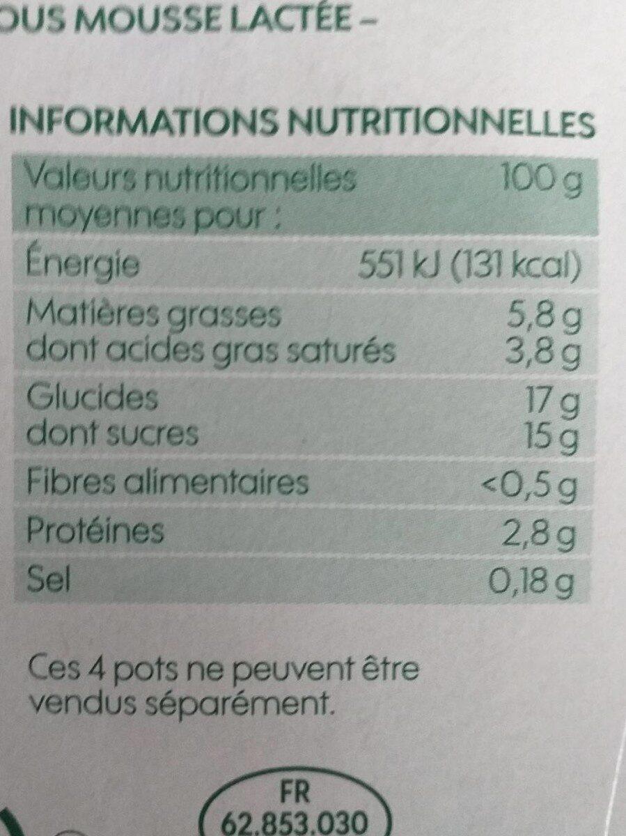 Liégeois café bio - Voedingswaarden - fr