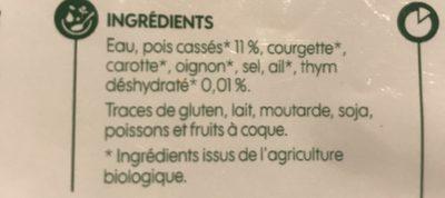 Soupe de pois cassés bio - Ingredients