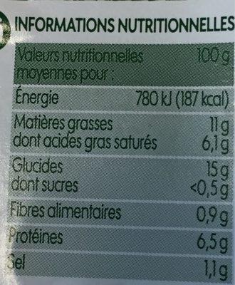 Quenelles nature bio - Informations nutritionnelles - fr