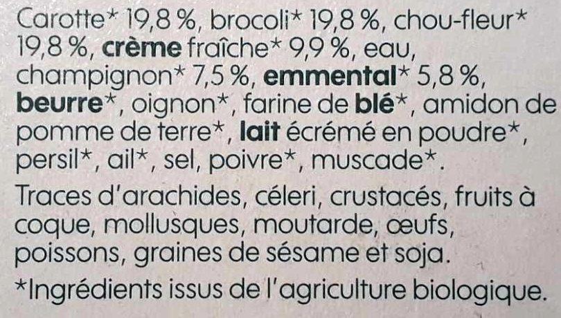 Gratin de légumes bio - Ingrédients