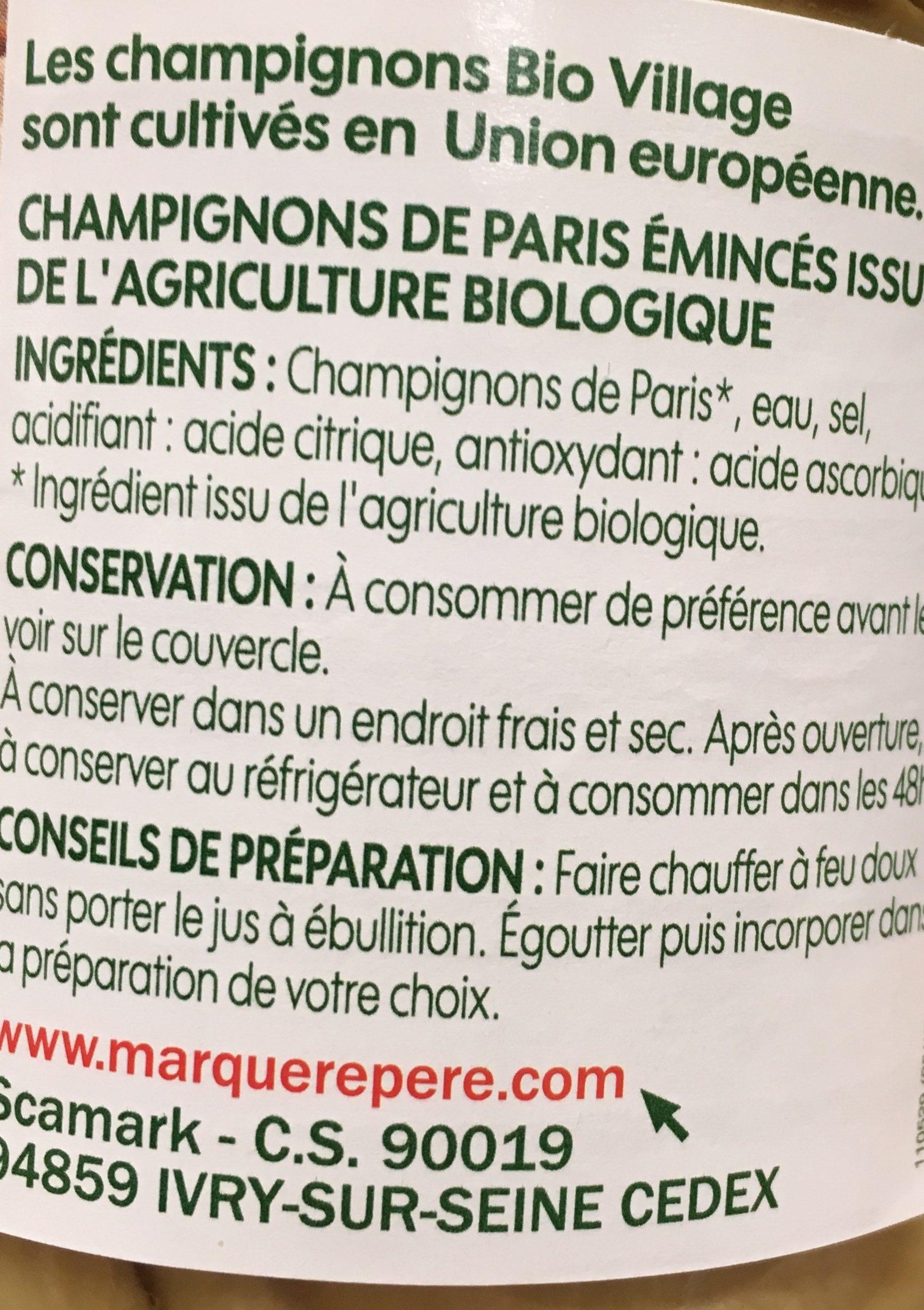 Champignons de Paris émincés bio - Ingrediënten - fr