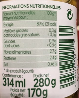 Champignons de Paris émincés bio - Voedingswaarden - fr
