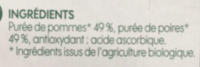 Compote pomme poire bio sans sucres ajoutés x 4 - Ingrediënten - fr